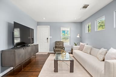 Living room with large smart TV