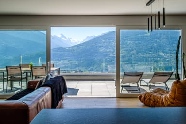 High standing apartment on the heights of Savièse, view on the Matterhorn
