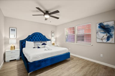 King bed with custom hotel quality linens