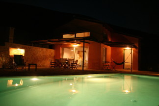 Outdoor swimming pool at night