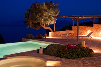 Romantic night image from the swimming pool area