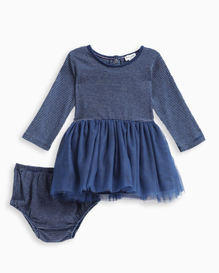 Baby Girl Indigo Tutu Stripe Dress
