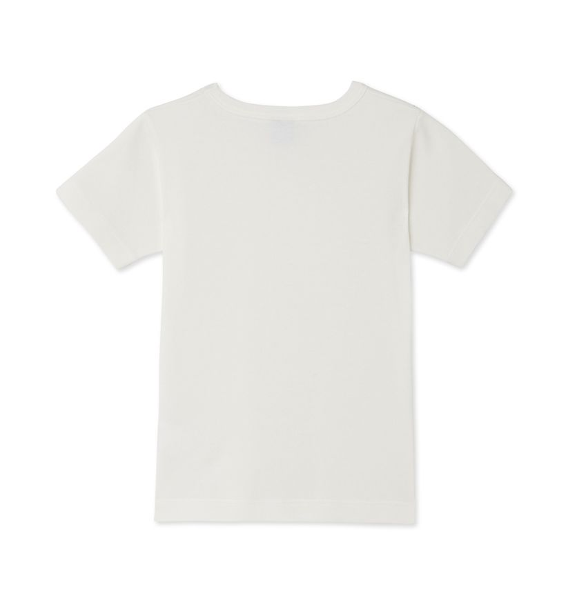 Girl's plain t-shirt with cocotte stitch finish