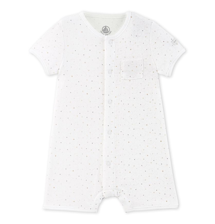 Baby short coverall in printed tube cotton