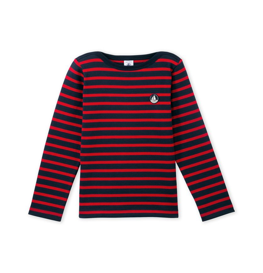 Boys' sailor shirt in thick jersey