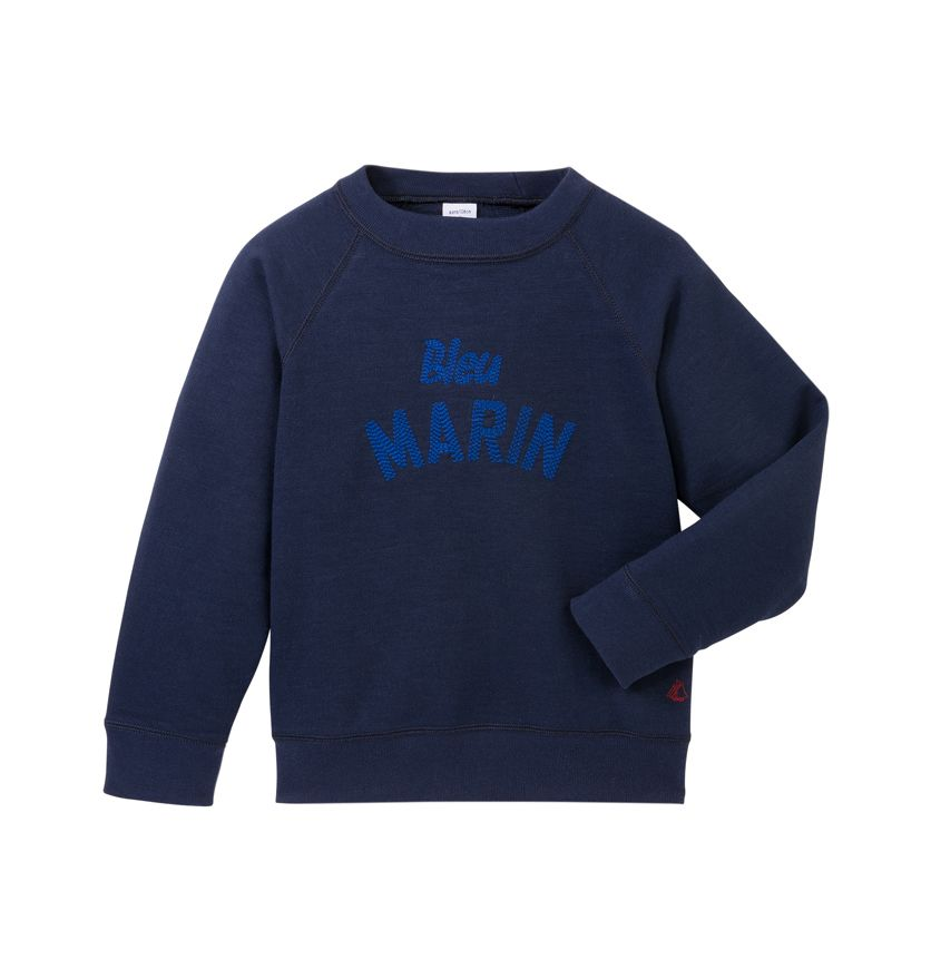Boys' sweatshirt with embroidered message