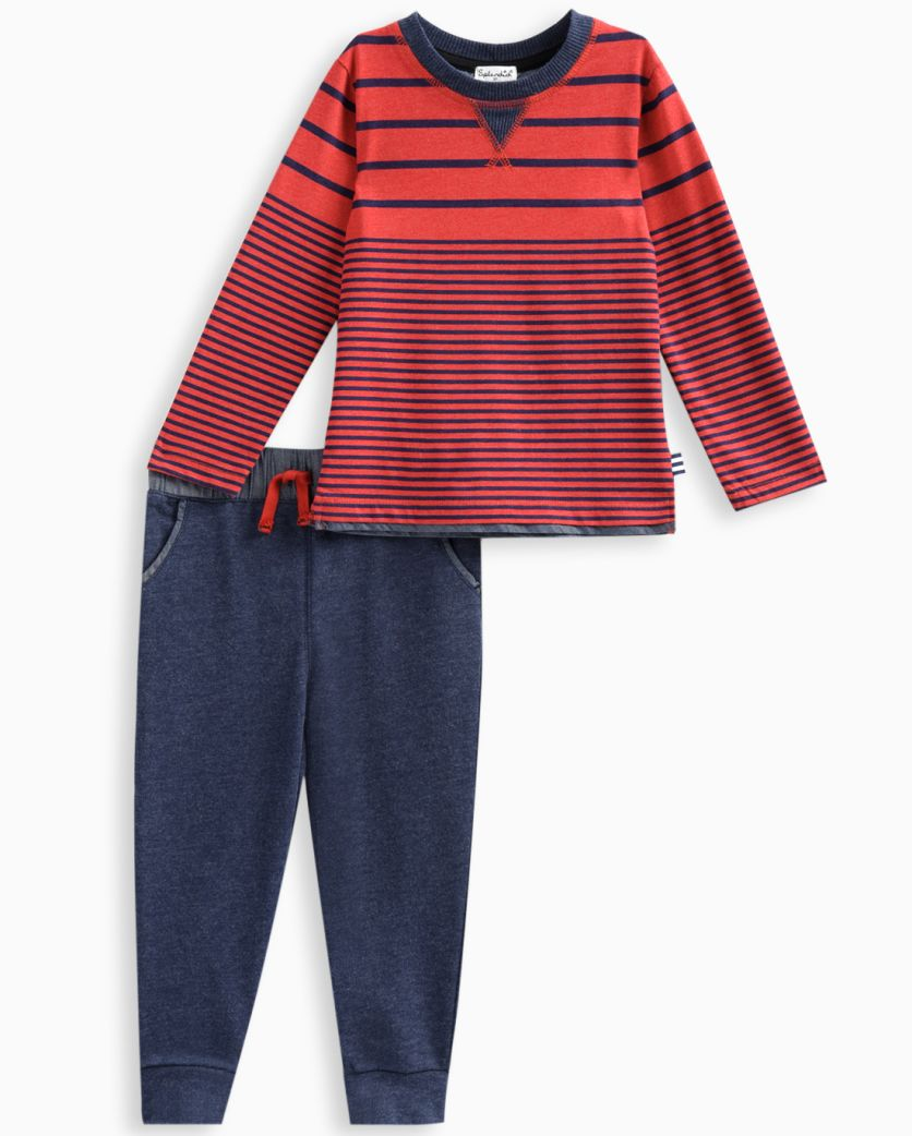 Little Boy Long Sleeve Stripe Top with Pant Set