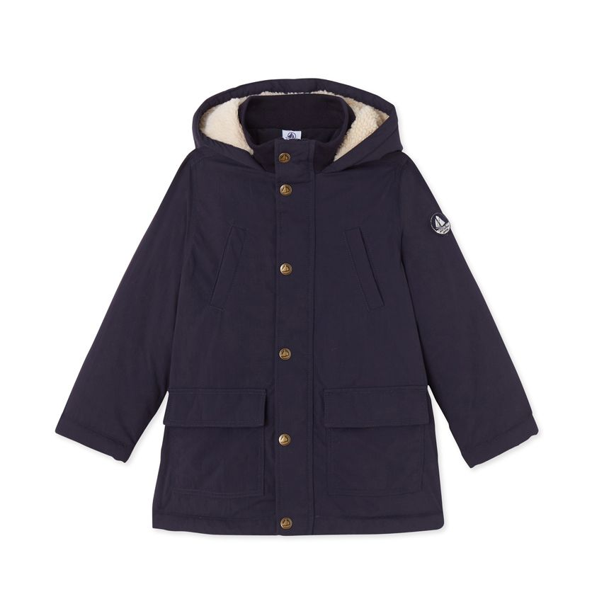 Boys' parka in water-resistant canvas