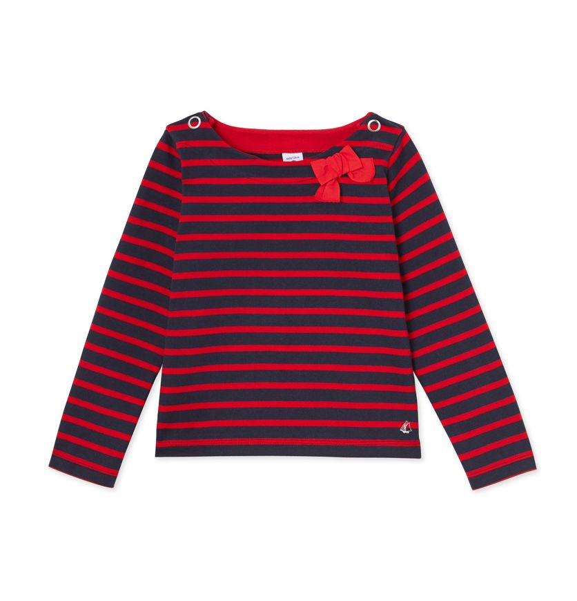 Girls' sailor shirt in thick jersey