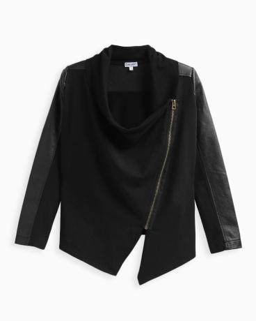 Girl Pleather Mix Jacket