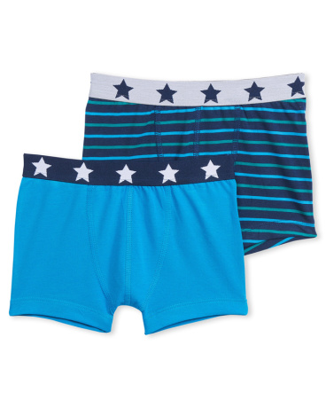 Set of 2 boy's plain/striped boxers