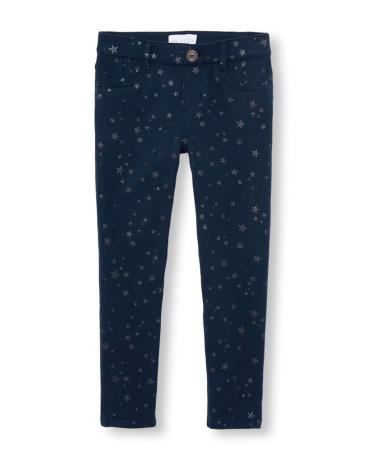 Girls Glitter Star Print Knit Jeggings