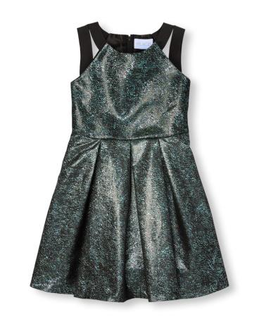 Girls Sleeveless Metallic Jacquard Woven Dress
