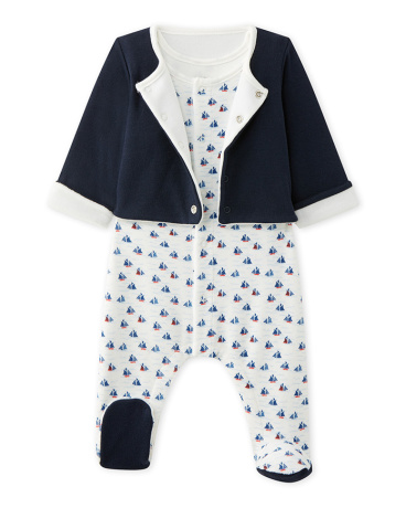 Baby boy's sleeper and cardigan set