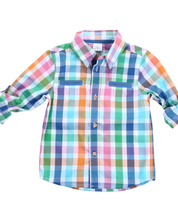 Summer Plaid Long Sleeve Dress Shirt