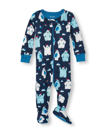 Baby And Toddler Boys Long Sleeve Santa Yeti Print Footed Stretchie