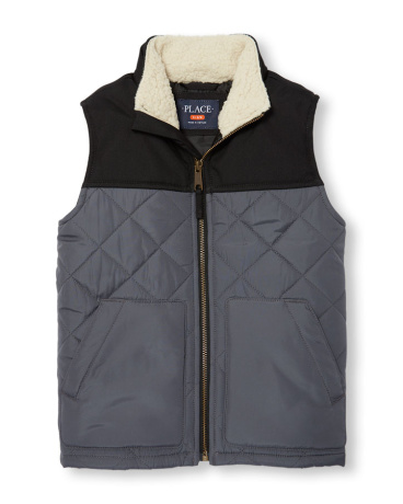 Boys Mix-Fabric Quilted Zip-Up Vest