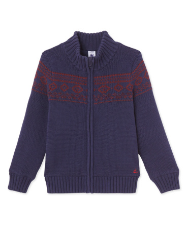 Boys' jacquard jacket lined in polar fleece