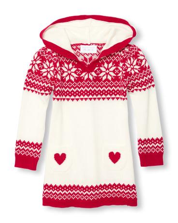 Toddler Girls Long Sleeve Fair Isle Hooded Sweater Dress