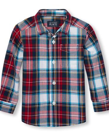 Toddler Boys Long Sleeve Plaid Print Poplin Button-Down Shirt