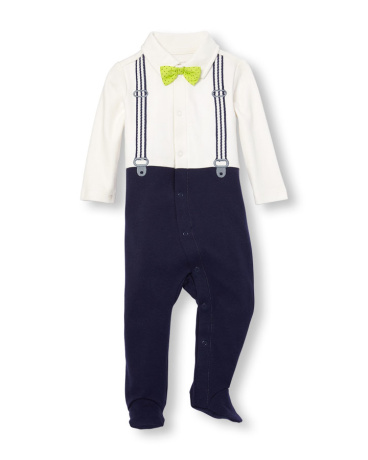 Baby Boys Layette Long Sleeve Suspender Footed Coverall