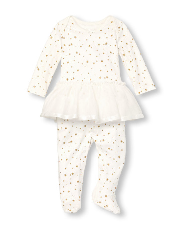 Baby Girls Layette Long Sleeve Glitter Star Print Tutu Footed Stretchie