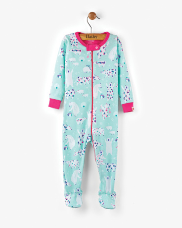 Arctic Party Organic Cotton Baby Footed Coverall