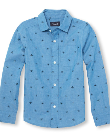 Boys Long Sleeve Shield Print Poplin Button-Down Shirt