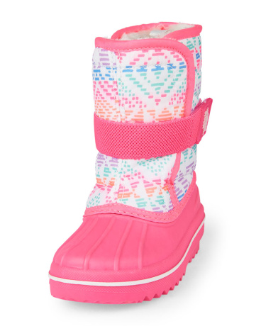 Toddler Girls Geometric Print Neon Snowboot