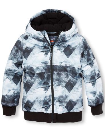 Boys Long Sleeve Printed Lightweight Puffer Jacket