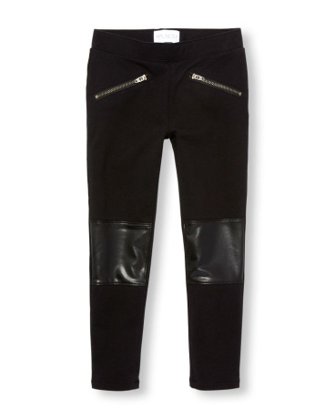 Girls Faux Leather Knee Knit Jeggings