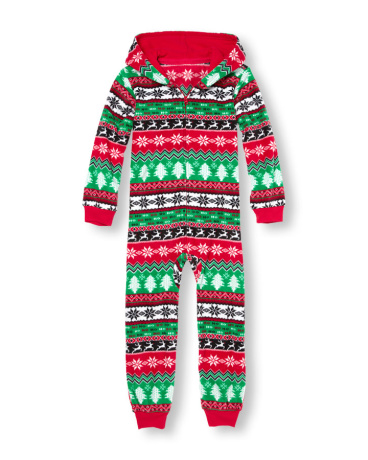 Unisex Kids Long Sleeve Fair Isle Print Glacier Fleece Hooded One-Piece Sleeper