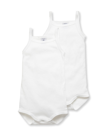 Pack of 2 baby plain bodysuits with straps