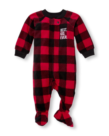 Baby And Toddler Boys Long Sleeve 'Best Kid Ever' Checked Footed Blanket Sleeper