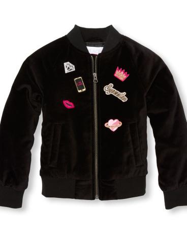 Girls Long Sleeve Patch Velvet Bomber Jacket