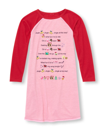 Girls Long Raglan Sleeve 'Jingle Bell' Emoji Lyrics Nightgown