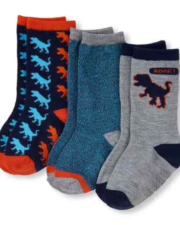 Toddler Boys Dinosaur Crew Socks 3-Pack