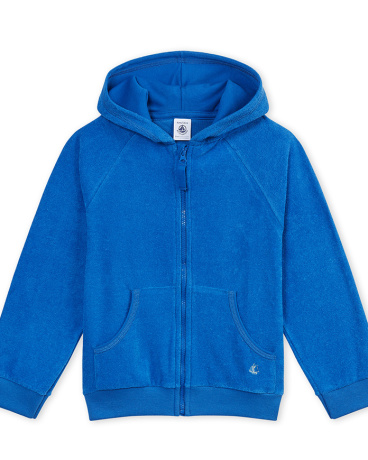 Boy's hooded sweatshirt in fine terry cloth bouclette