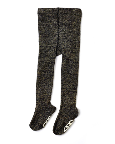 Metallic Navy Knit Footed Tights
