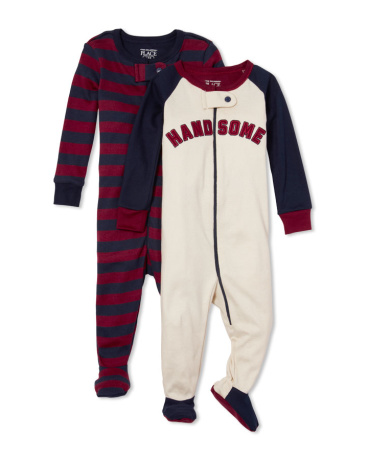 Baby And Toddler Boys Long Sleeve 'Handsome' And Stripe Footed Stretchie 2-Pack