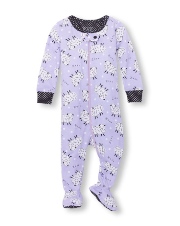 Baby And Toddler Girls Long Sleeve Sleepy Sheep Print Footed Stretchie