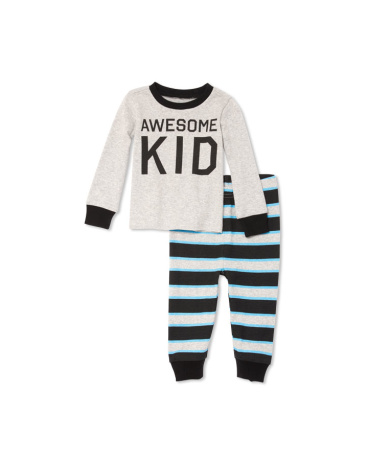 Toddler Boys Long Sleeve 'Awesome Kid' Top And Striped Pants PJ Set