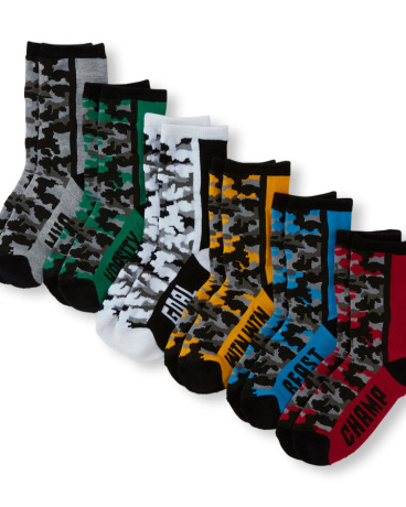 Boys PLACE Sport Camo Print Statement Cushioned Crew Socks 6-Pack