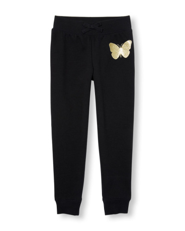 Girls Active Glitter Graphic Jogger Pants