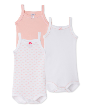 Pack of 3 baby girl bodysuits with straps