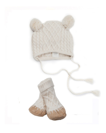 Cable Knit Hat and Bootie Set