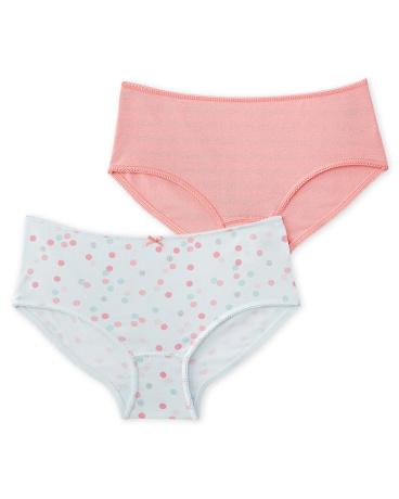 Set of 2 girl's polka dot and plain boxers