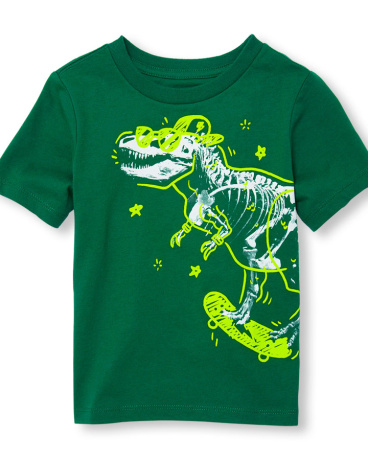 Toddler Boys Short Sleeve Skater Dino Doodle Graphic Tee