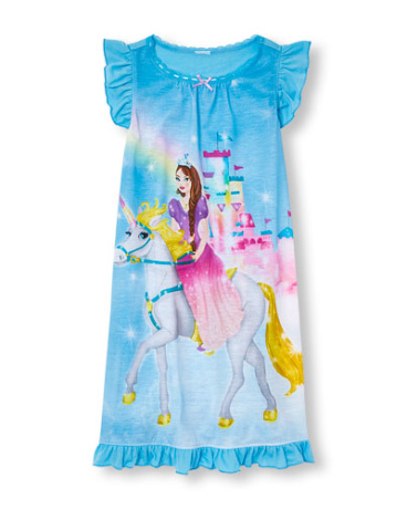 Girls Short Ruffle Sleeve Magical Nightgown