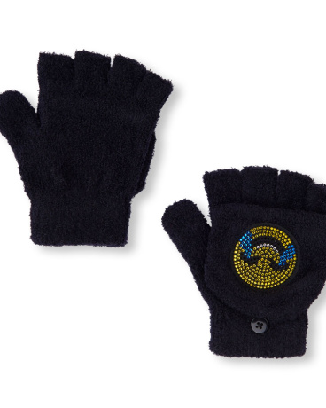 Girls Embellished Emoji Convertible Gloves